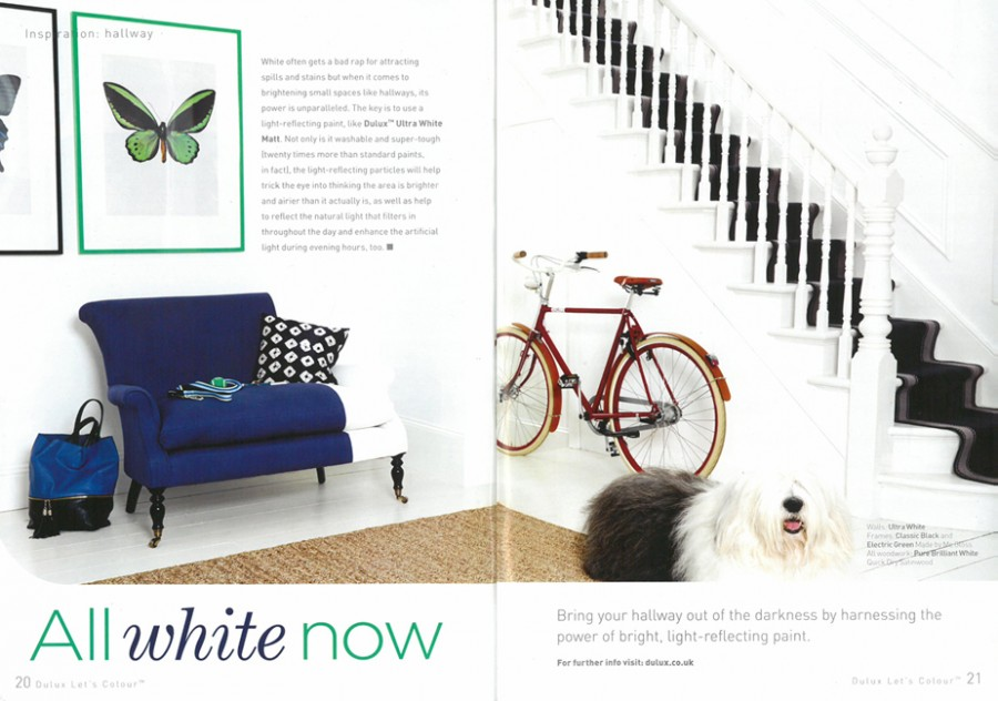 Dulux paint catalogue showing Henley Soft Black stair runner - Spring 2014
