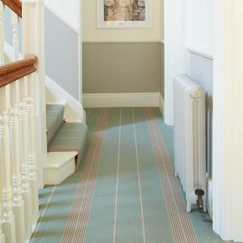 Swanson Celadon on stairs and joined by hand as wall-to-wall carpet